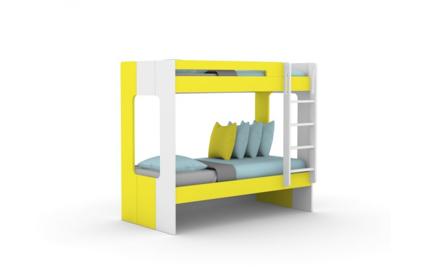 Andy Yellow Kids Bunk Bed - Yellow / White