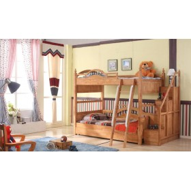 Roderik Solid Wood Bunk Bed with Stairs