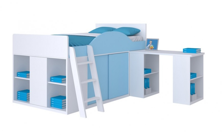 Hestor Comprehensive Loft Bed - Blue