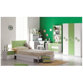 Verde Green and White Glossy 3-Door Wardrobe