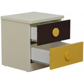 Jaubrun-Brown and Yellow Bedside Table