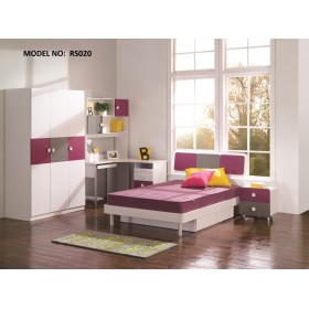 Magic Magenta, Grey and White Children Bedroom Set