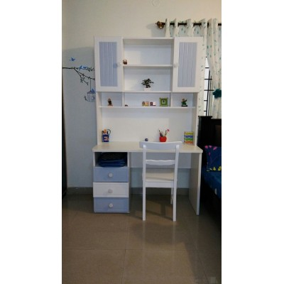 Felix White and Blue Study Table for Kids