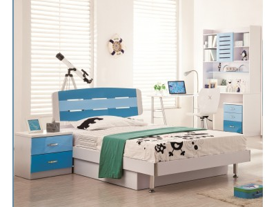 David Blue n White Kids Twin Bed