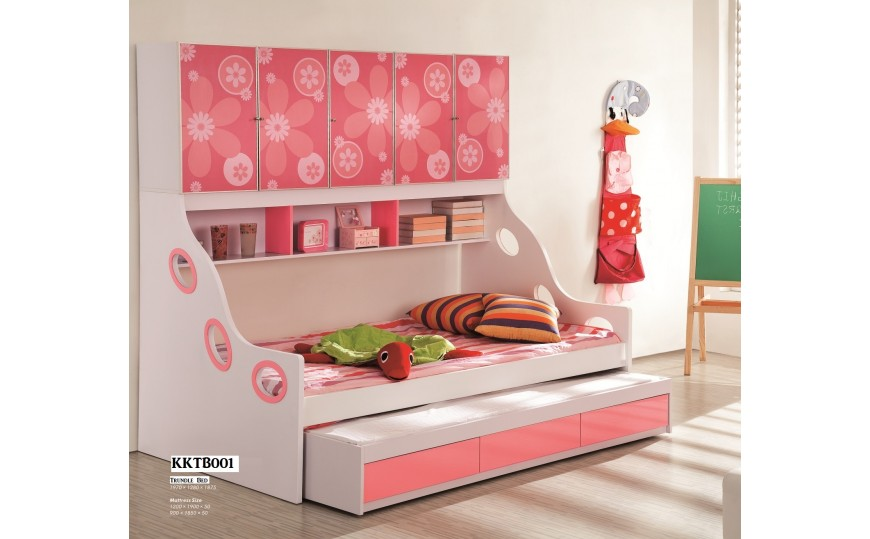Fleur Floral Pink Kids Trundle Bed
