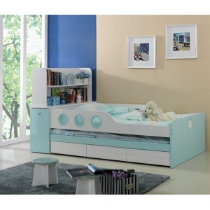 Marine Aqua Blue Trundle Bed for Kids
