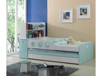 Marine Aqua Blue Trundle Bed for Kids