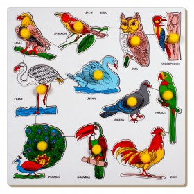 Little Genius SPL03 Birds Large Puzzle with Knobs