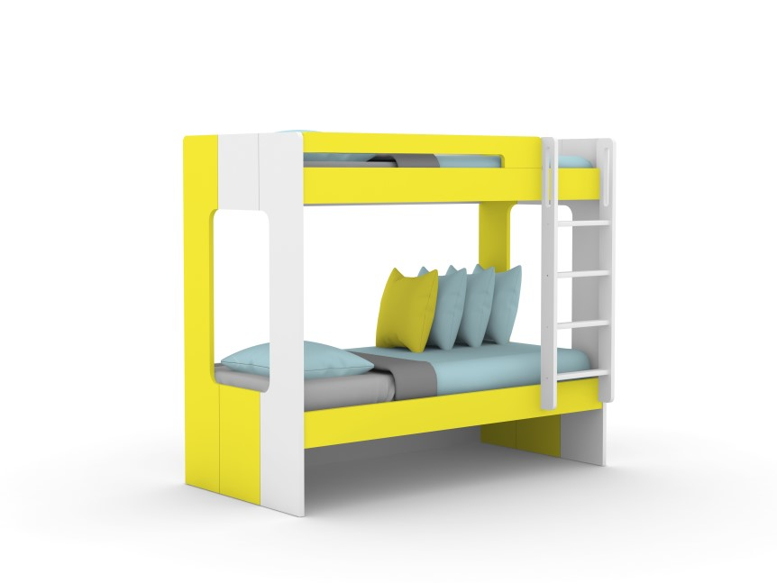 Andy Yellow Kids Bunk Bed With 2 Beds