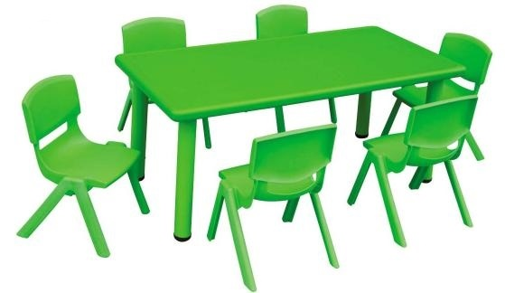 Captivating Rectangular Plastic Activity Table Green (chairs Not Included)